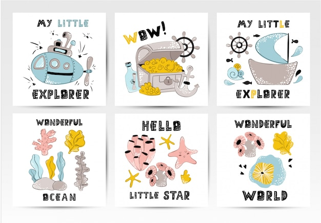 Set of vector nursery posters template