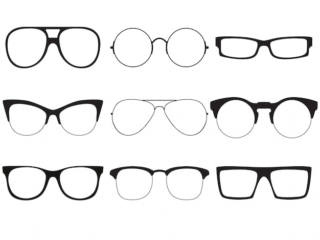 Set of vector outlines of sunglasses.