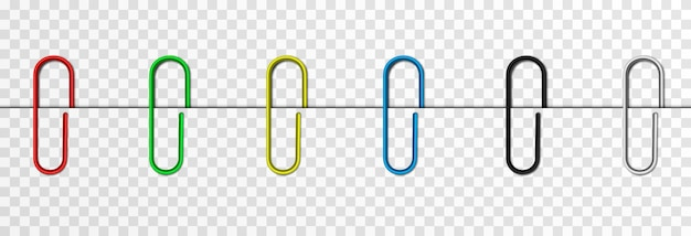 Set of vector paper clips on isolated transparent background attached paper clip metal paper clip
