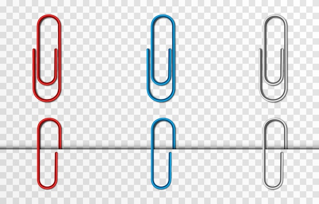 Set of vector paper clips on isolated transparent background attached paper clip metal paper clip Premium Vector