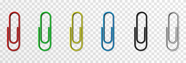 Set of vector paper clips on isolated transparent background metal paper clip png