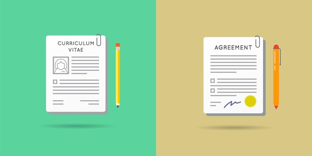 Set of vector paper document icons. can be used as logo.