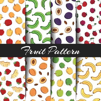 Set of vector patterns on the fruits theme.