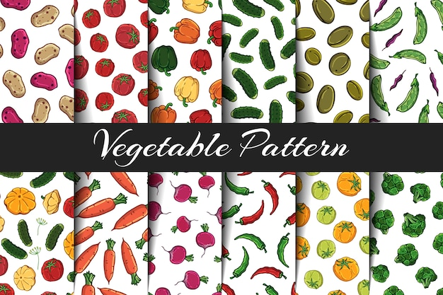 Set of vector patterns on the vegetables theme.