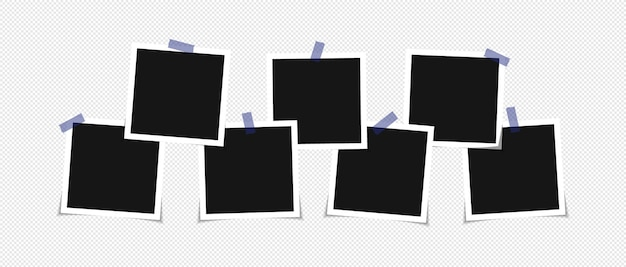 Set of vector photo frame mockup design on sticky tape
