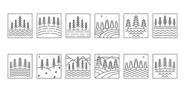 Set of vector pines tree line icon logo illustration design collection of pine tree line art style