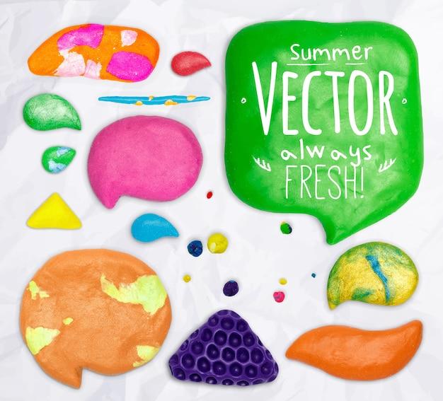 Set of vector plasticine design elements cobbled together