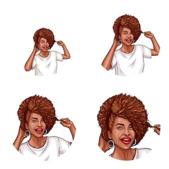 Set of vector pop art round avatar icon