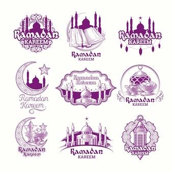 Набор векторных фиолетовых иллюстраций, знак рамадан карим с фонарем, башни мечети, полумесяца