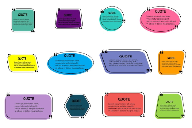 Set of vector quote templates. speech bubble, frame, text in brackets