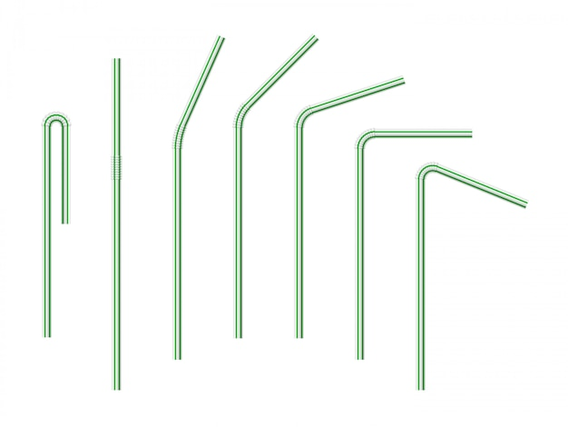 Set of vector realistic drinking straws striped