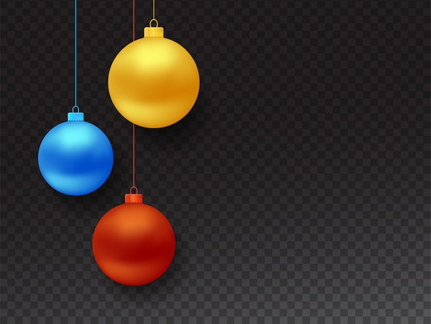 Set of vector realistic hanging christmas balls