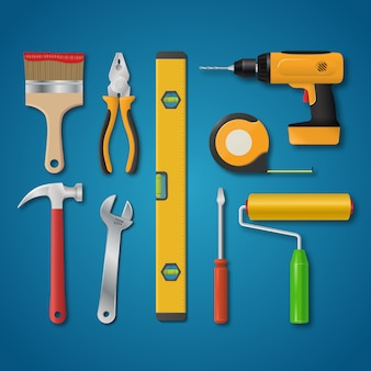 Set of vector realistic tools isolated on a blue