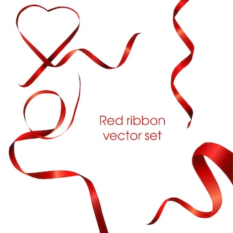 Set of vector red heart ribbon tape