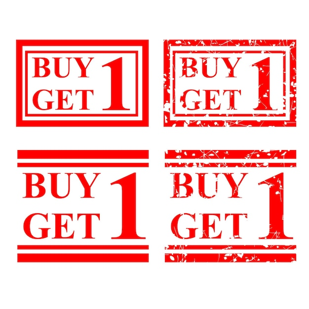 Set vector red rubber stamp buy one get one