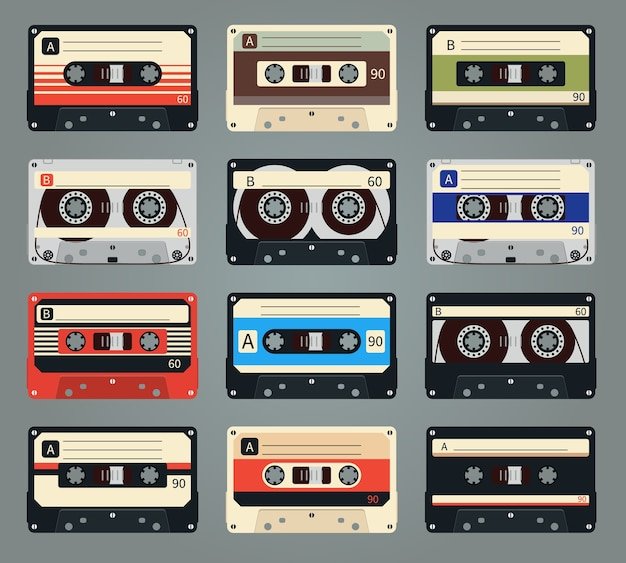 Set di cassette audio retrò vettoriali. nastro e audio, musica e suono, media e registrazione