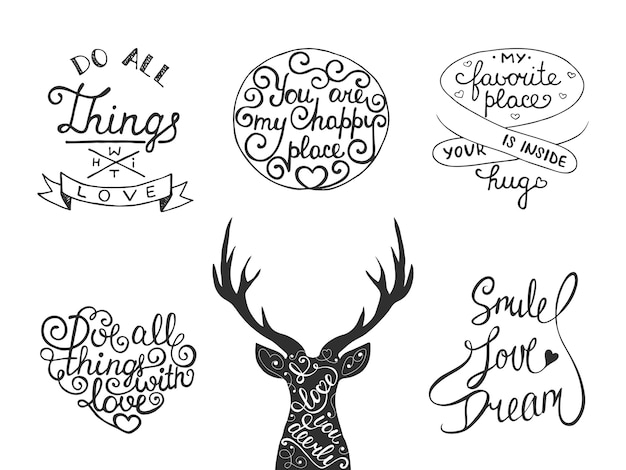 Set of vector romantic inspirational lettering