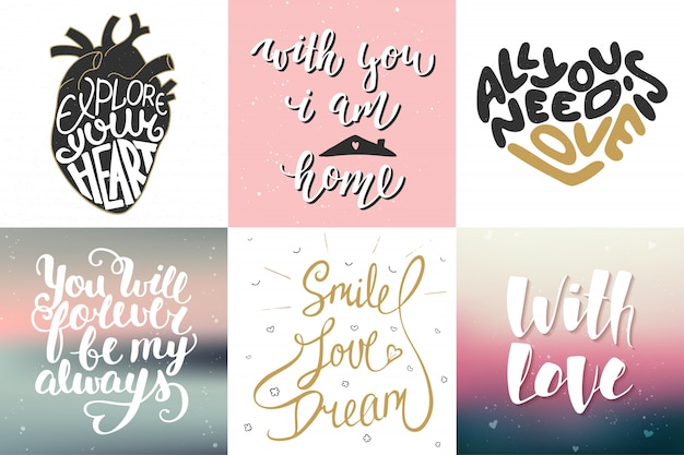 Set of vector romantic lettering posters