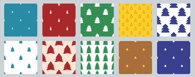 Set of vector seamless christmas simple patterns with christmas trees.