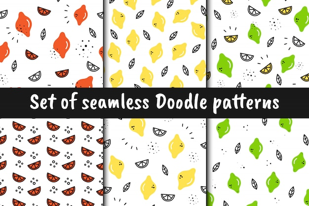 Set of vector seamless fruit patterns in doodle style