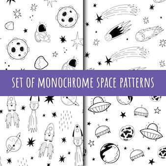 A set of vector seamless monochrome patterns. cosmos. doodle