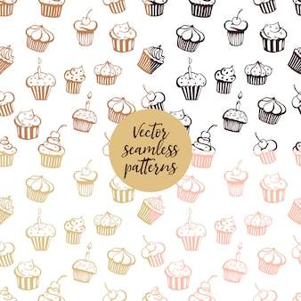 Set of vector seamless muffin patterns