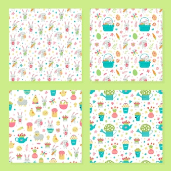 Set of vector seamless pattern for easter with rabbits and eggs and spring designs.