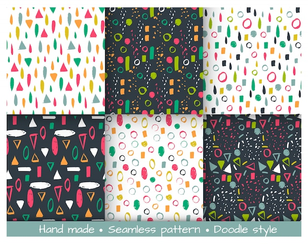 Set of vector seamless pattern