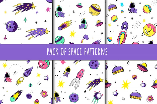 Set of vector seamless patterns in cartoon style