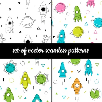 Set of vector seamless patterns. cosmos