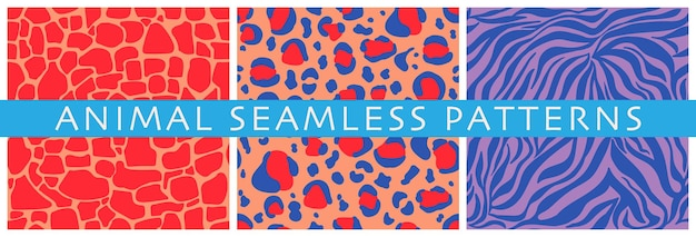 Set of vector seamless patterns of decorative animal prints abstract stripes and spots
