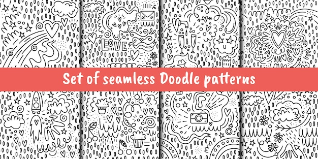 Set of vector seamless patterns in doodle style