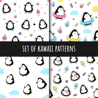 Set of vector seamless patterns in kawaii style