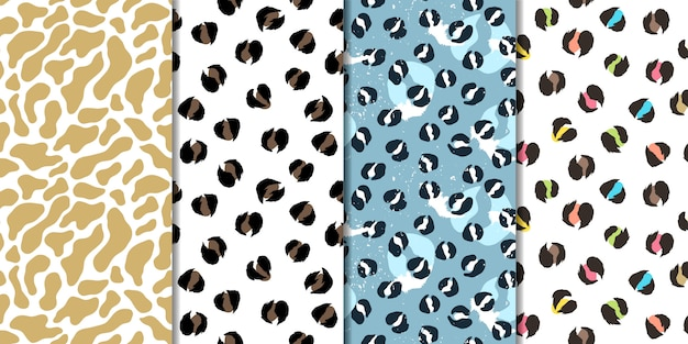 Set of vector seamless patterns. leopard, giraffe