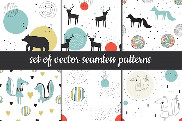Set of vector seamless patterns in scandinavian style