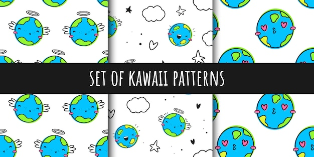 Set of vector seamless patterns in the style of kawaii