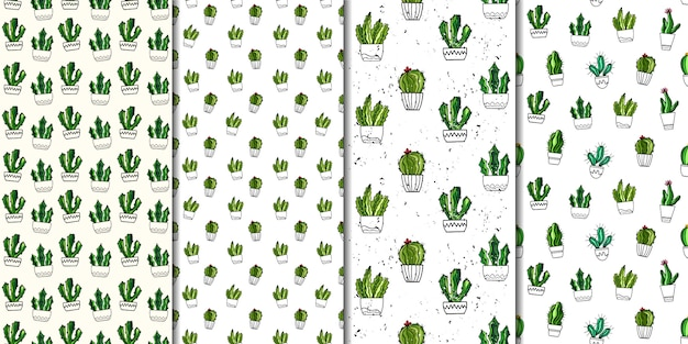 Set of vector seamless patterns with cacti. hand drawn style