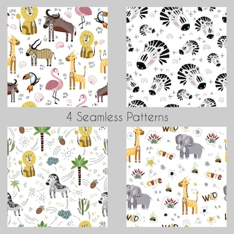Set - vector seamless patterns with cartoon african animals, plants, birds