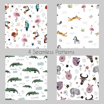Set vector seamless patterns with cartoon african animals, plants, birds