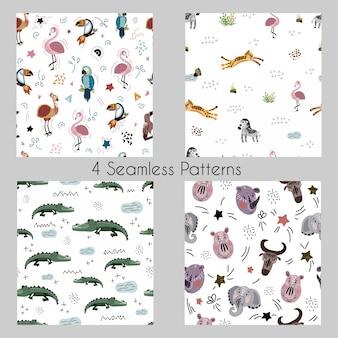 설정-만화 아프리카 동물, 식물, 조류와 벡터 원활한 패턴