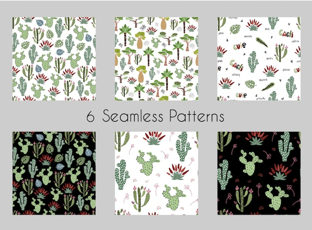 Set of vector seamless patterns with cartoon african trees, cactuses
