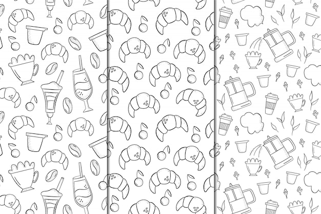 Set of vector seamless patterns with coffee and desserts