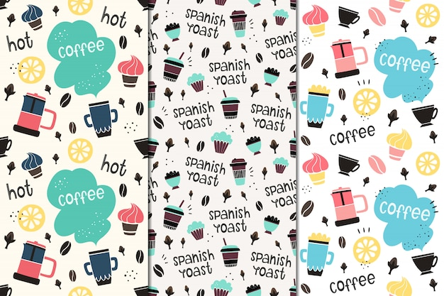 Set of vector seamless patterns with coffee and spices.