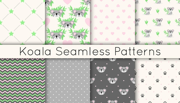 Set of vector seamless patterns with cute koalas, eucalyptus branches, stars, hearts, zigzags.