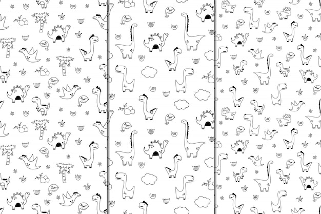 Set of vector seamless patterns with dinosaurs