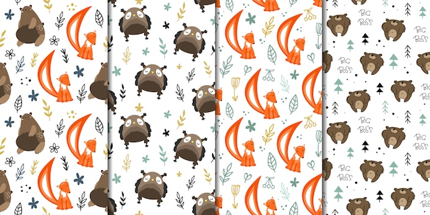 Set of vector seamless patterns with forest animals.