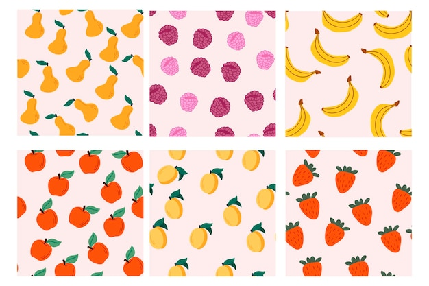 Set of vector seamless patterns with fruits hand drawn textures  design for paper cover fabric