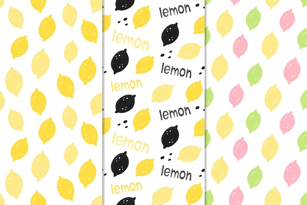 Set of vector seamless patterns with lemons.