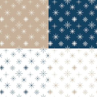 Set of vector seamless patterns with snowflakes