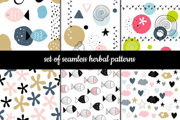 Set of vector seamless patterns.